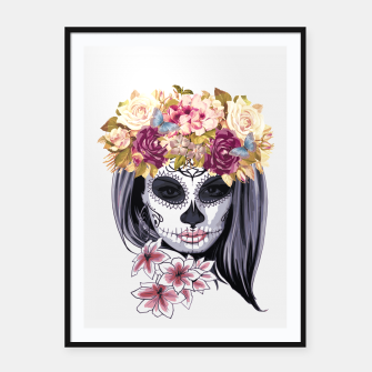 Thumbnail image of Flower Head Skull Framed poster, Live Heroes