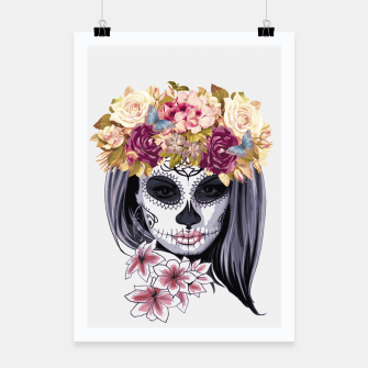 Thumbnail image of Flower Head Skull Poster, Live Heroes