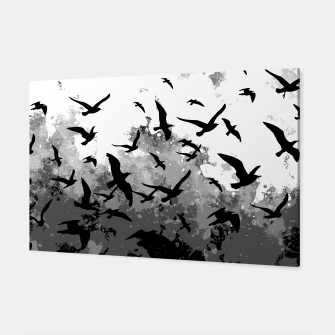 Thumbnail image of Abstract Black and White birds collage Canvas, Live Heroes