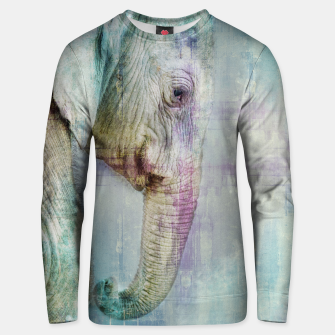 Thumbnail image of Gentle Blue Grunge Paint Elephant Digital Art Cotton sweater, Live Heroes