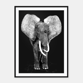 Miniatur Black and white Elephant Digital Art Framed poster, Live Heroes