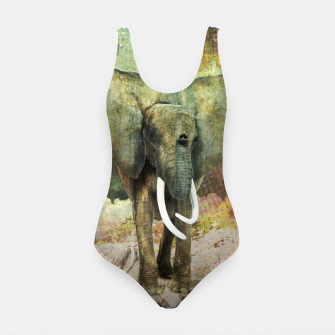 Thumbnail image of Abstract Grunge Elephant Digital art Swimsuit, Live Heroes