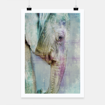 Thumbnail image of Gentle Blue Grunge Paint Elephant Digital Art Poster, Live Heroes