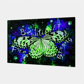 Thumbnail image of gxp butterfly beautiful strong free splatter watercolor blue red schmetterling blau rot Canvas, Live Heroes