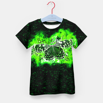 Thumbnail image of gxp butterfly beautiful strong free splatter watercolor green negative schmetterling gruen T-Shirt für kinder, Live Heroes