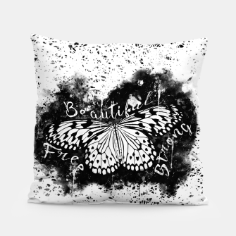 Thumbnail image of gxp butterfly beautiful strong free splatter watercolor white schmetterling weiß Kissen, Live Heroes