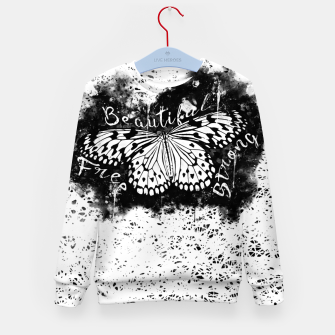 Thumbnail image of gxp butterfly beautiful strong free splatter watercolor white schmetterling weiß Kindersweatshirt, Live Heroes