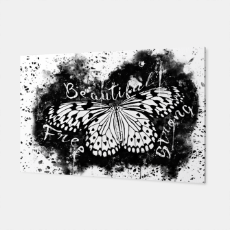 Thumbnail image of gxp butterfly beautiful strong free splatter watercolor white schmetterling weiß Canvas, Live Heroes