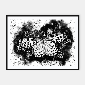Thumbnail image of gxp butterfly beautiful strong free splatter watercolor white schmetterling weiß Plakat mit rahmen, Live Heroes