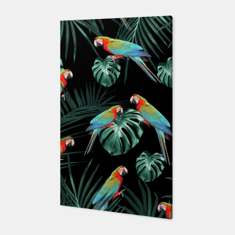 Thumbnail image of Parrots in the Tropical Jungle Night #2 #tropical #decor #art Canvas, Live Heroes