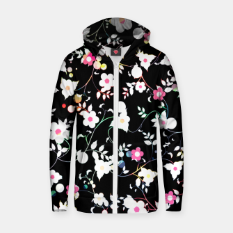 Thumbnail image of White flowers Cotton zip up hoodie, Live Heroes