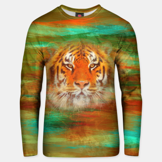 Thumbnail image of Tiger head on painted texture Cotton sweater, Live Heroes