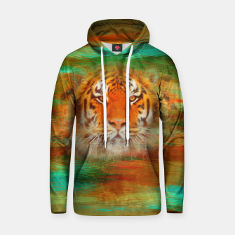 Thumbnail image of Tiger head on painted texture Cotton hoodie, Live Heroes