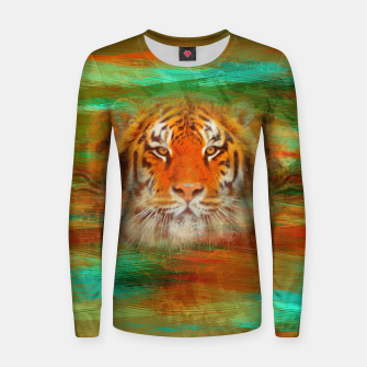 Thumbnail image of Tiger head on painted texture Woman cotton sweater, Live Heroes