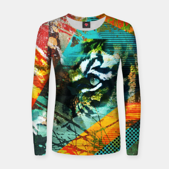 Miniature de image de Bengal Tiger in  Abstract Paint Digital art Woman cotton sweater, Live Heroes