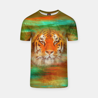 Thumbnail image of Tiger head on painted texture T-shirt, Live Heroes