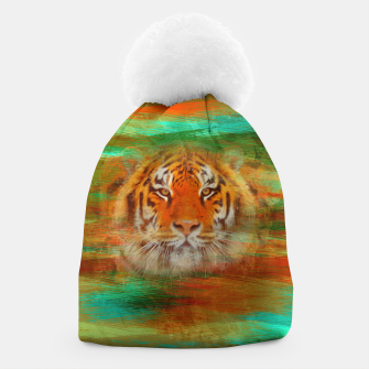 Thumbnail image of Tiger head on painted texture Beanie, Live Heroes