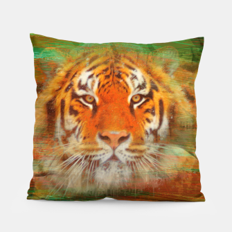 Thumbnail image of Tiger head on painted texture Pillow, Live Heroes