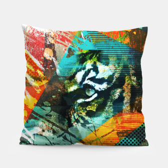 Miniature de image de Bengal Tiger in  Abstract Paint Digital art Pillow, Live Heroes