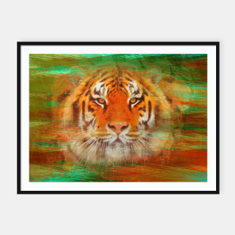 Thumbnail image of Tiger head on painted texture Framed poster, Live Heroes