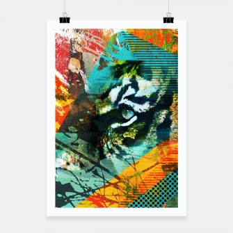 Miniature de image de Bengal Tiger in  Abstract Paint Digital art Poster, Live Heroes