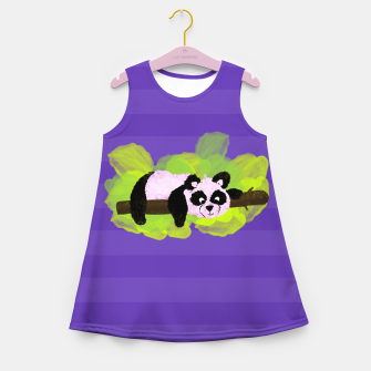 Miniature de image de Cute  Panda Bear on green leaves and purple Girl's summer dress, Live Heroes