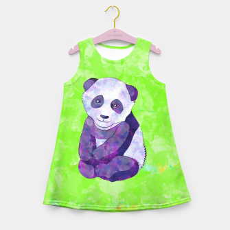 Miniature de image de Cute  Purple Panda Bear  on green Girl's summer dress, Live Heroes