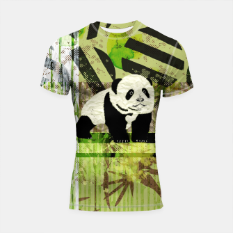 Miniaturka Panda Cub Abstract mixed media digital art collage Shortsleeve rashguard, Live Heroes