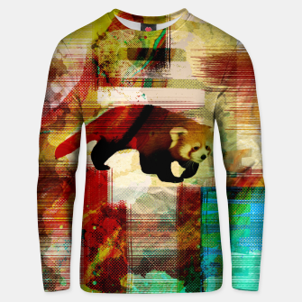 Miniaturka Red Panda Abstract mixed media art collage Cotton sweater, Live Heroes
