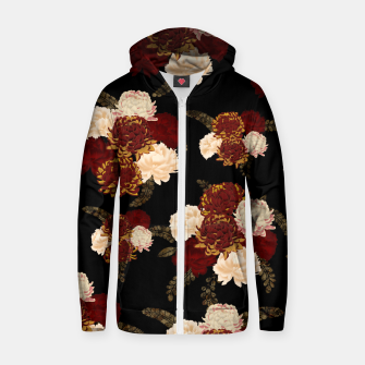 Miniaturka Japanese style flower art chrysanthemum and peony Cotton zip up hoodie, Live Heroes