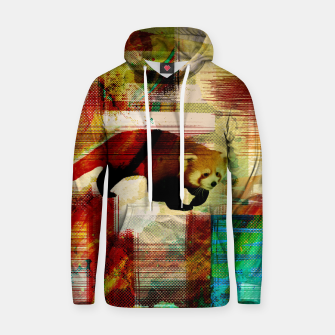 Miniaturka Red Panda Abstract mixed media art collage Cotton hoodie, Live Heroes