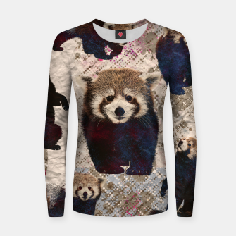 Miniaturka Red Panda Abstract mixed media digital art collage Woman cotton sweater, Live Heroes