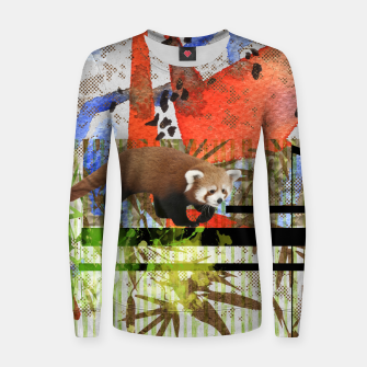 Miniaturka Red Panda Abstract mixed media art collage Woman cotton sweater, Live Heroes