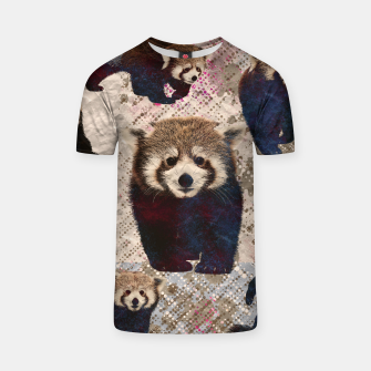 Miniaturka Red Panda Abstract mixed media digital art collage T-shirt, Live Heroes