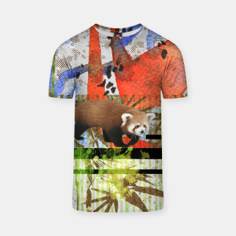Miniaturka Red Panda Abstract mixed media art collage T-shirt, Live Heroes