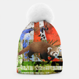 Miniaturka Red Panda Abstract mixed media art collage Beanie, Live Heroes