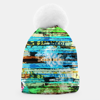 Thumbnail image of Egyptian hieroglyphs on textured background Beanie, Live Heroes