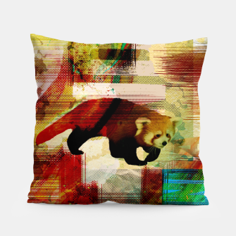 Miniaturka Red Panda Abstract mixed media art collage Pillow, Live Heroes