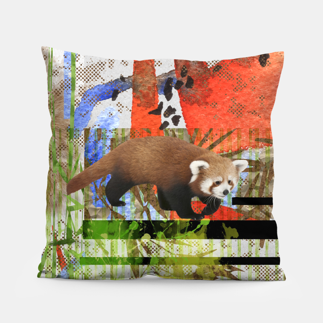 Red Panda Abstract Mixed Media Art Collage Pillow Live Heroes