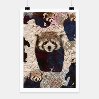Miniaturka Red Panda Abstract mixed media digital art collage Poster, Live Heroes