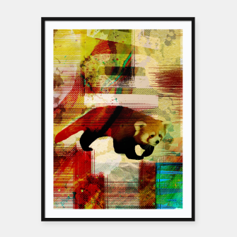 Miniaturka Red Panda Abstract mixed media art collage Framed poster, Live Heroes