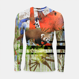 Miniaturka Red Panda Abstract mixed media art collage Longsleeve rashguard , Live Heroes