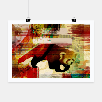 Miniaturka Red Panda Abstract mixed media art collage Poster, Live Heroes