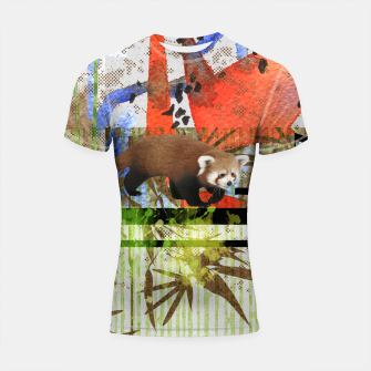 Miniaturka Red Panda Abstract mixed media art collage Shortsleeve rashguard, Live Heroes