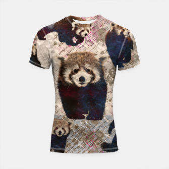 Miniaturka Red Panda Abstract mixed media digital art collage Shortsleeve rashguard, Live Heroes