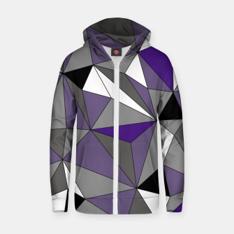 Imagen en miniatura de Abstract geometric pattern - gray, purple, black and white. Cotton zip up hoodie, Live Heroes