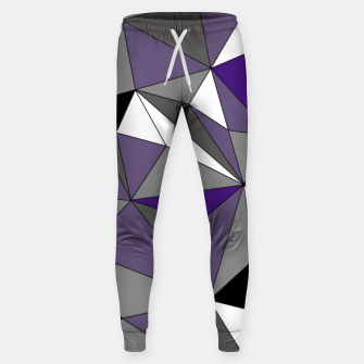 Imagen en miniatura de Abstract geometric pattern - gray, purple, black and white. Cotton sweatpants, Live Heroes