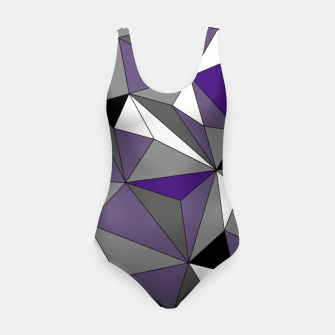 Imagen en miniatura de Abstract geometric pattern - gray, purple, black and white. Swimsuit, Live Heroes