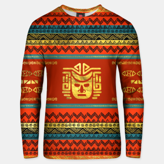 Thumbnail image of Golden  Ethnic Mask on Bright Tribal Pattern  Cotton sweater, Live Heroes