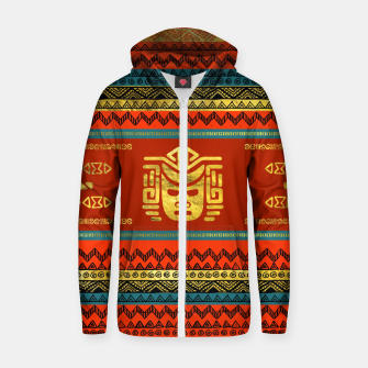Thumbnail image of Golden  Ethnic Mask on Bright Tribal Pattern  Cotton zip up hoodie, Live Heroes